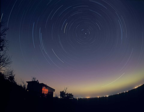 Framed Circumpolar star trails with a faint aurora over horizon, Alberta, Canada Print