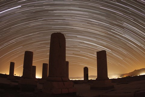 Framed Star trails above the Private Palace of Cyrus the Great, Pasargad, Iran Print