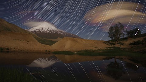 Framed Star trails above Mount Damavand, Iran Print