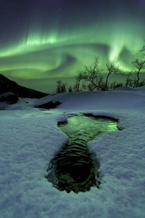 Framed Aurora Borealis over a frozen river, Norway Print