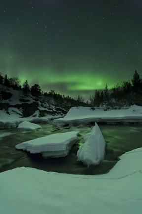 Framed Aurora Borealis, Tennevik River, Troms, Norway Print