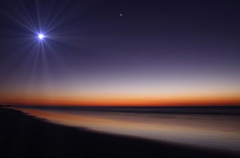 Framed Moon and Venus at twilight from the beach of Pinamar, Argentina Print
