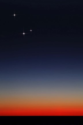 Framed Venus, Mercury and Mars above the glowing horizon at dawn Print