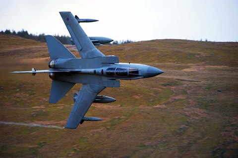 Framed Royal Air Force Tornado GR4 during low fly training in North Wales Print