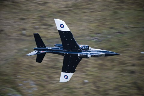 Framed Alpha Jet of the Royal Air Force low level flying over North Wales Print