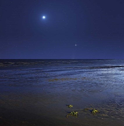 Framed Venus shines brightly below the crescent Moon from coast of Buenos Aires, Argentina Print