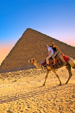 Framed Camel ride, Great Pyramids, Cairo, Giza Plateau, Egypt Print