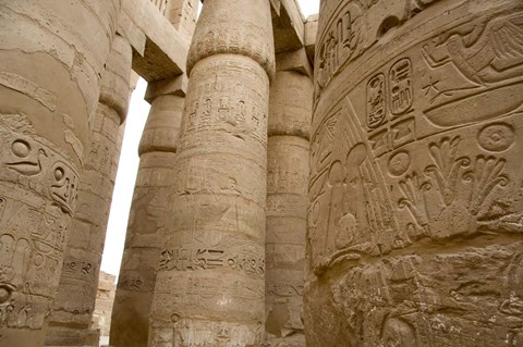 Framed Hieroglyphic covered columns in hypostyle hall, Karnak Temple, East Bank, Luxor, Egypt Print