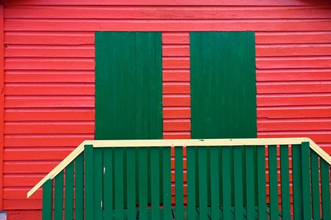 Framed Red and Green wooden cottages, Muizenberg Resort, Cape Town, South Africa Print