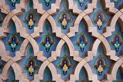 Framed Wall tiles in Al-Hassan II mosque, Casablanca, Morocco Print