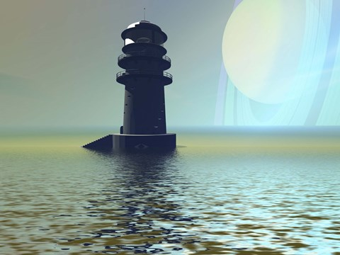 Framed lighthouse beacon on an alien planet Print