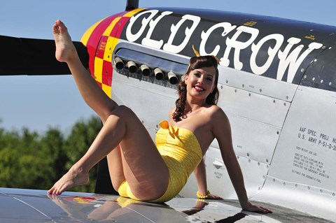 Framed Cute pin-up girl sitting on the wing of a P-51 Mustang Print