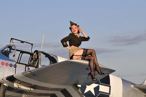 Pin Up Girl Sitting On The Wing Of A P 51 Mustang Fine Art