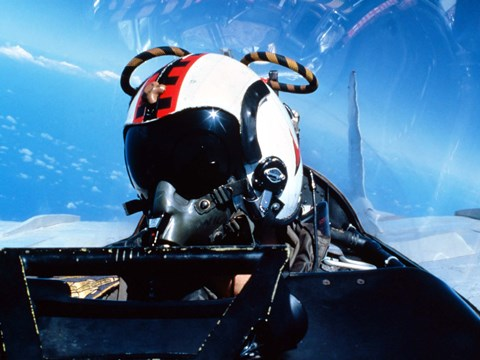 Framed pilot sitting in the back of a two-seater F-14 Tomcat Print