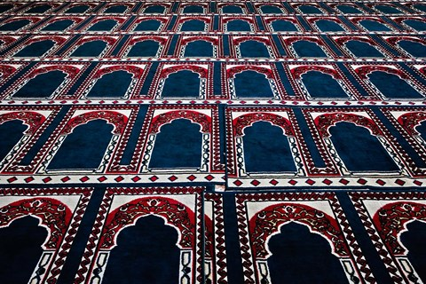 Framed Pattern of prayer rugs, Islamic mosque, Cairo, Egypt Print