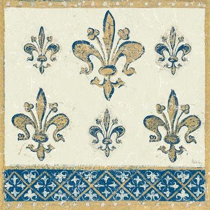 Framed Regal Fleur de Lis Indigo and Cream Print