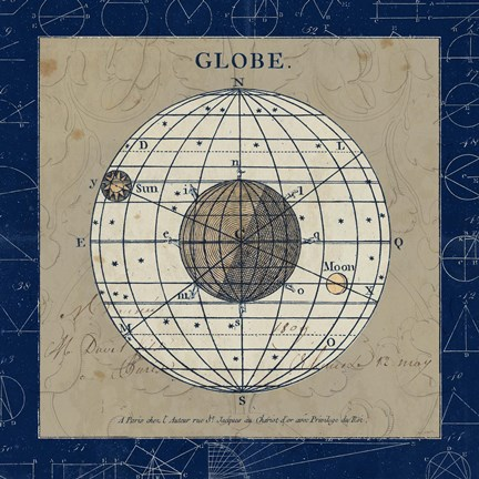 Framed Globe Blue Print