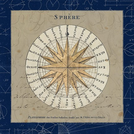 Framed Sphere Compass Blue Print