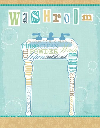 Framed Bathroom Words Sink II Print