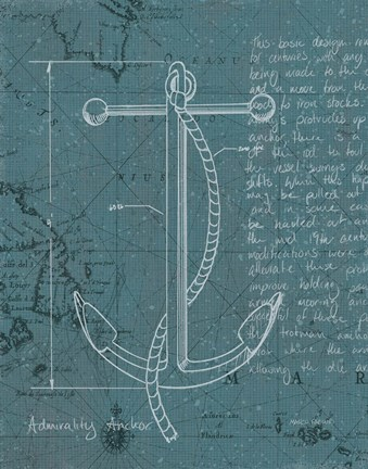 Coastal Blueprint Viii Dark Fine Art Print By Marco