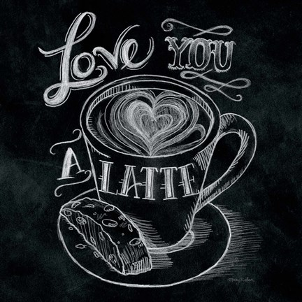 Framed Love You a Latte  No Border Square Print