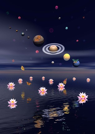Framed Planets of the solar system surrounded by lotus flowers and butterflies Print