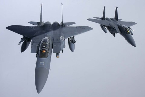 Framed Two  F-15E Strike Eagle of the US Air Force Print