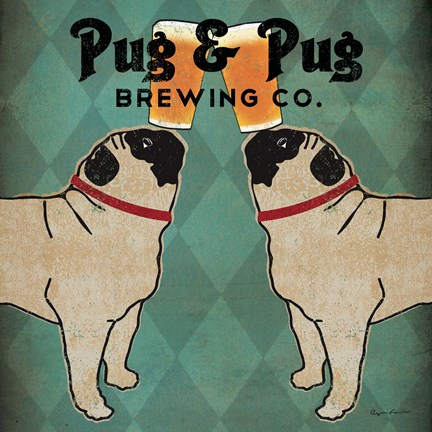 Framed Pug and Pug Brewing Square Print