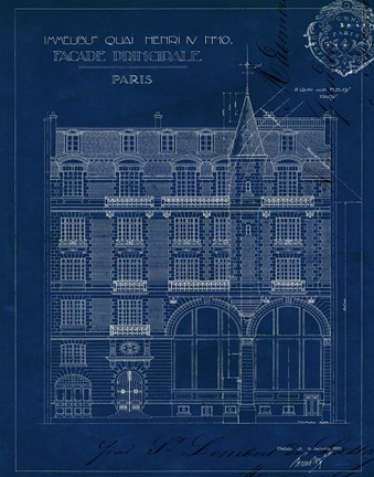 Quai Henri Blueprint I Fine Art Print By Wild Apple