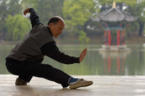 Framed Man Doing Tai Chi Exercises at Black Dragon Pool with One-Cent Pavilion, Lijiang, Yunnan Province, China Print