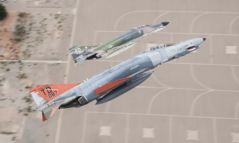 Framed Two QF-4E Phantom II drones break over Holloman Air Force Base, New Mexico Print