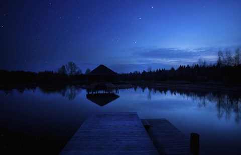 Framed small pier in a lake against starry sky, Moscow region, Russia Print