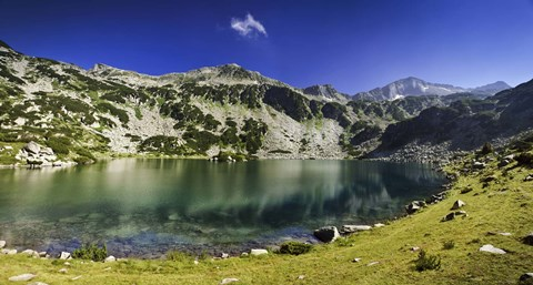 Framed Ribno Banderishko Lake in Pirin National Park, Bansko, Bulgaria Print