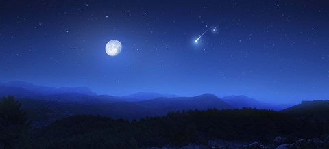 Mountain Range On A Misty Night With Moon And Starry Sky