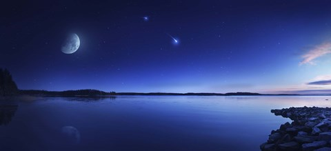 Framed Tranquil lake against starry sky, moon and falling meteorite, Finland Print