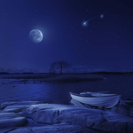Framed boat moored near an icy stone in a lake against starry sky, Finland Print