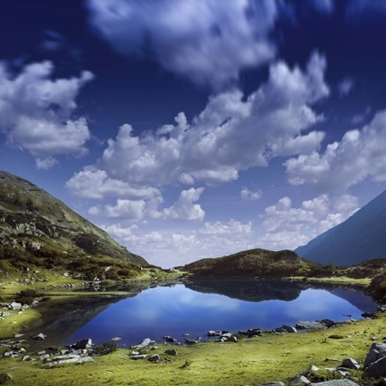 Framed Blue lake in the Pirin Mountains over tranquil clouds, Pirin National Park, Bulgaria Print