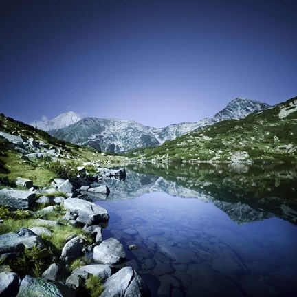Framed Ribno Banderishko Lake in Pirin National Park, Bulgaria Print