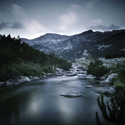 Framed Small river in the mountains of Pirin National Park, Bansko, Bulgaria Print