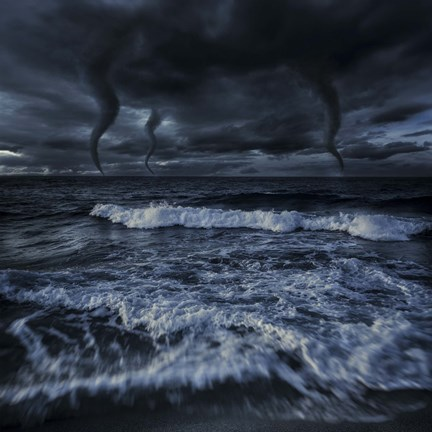 Framed Tornados in a rough sea against stormy clouds, Crete, Greece Print