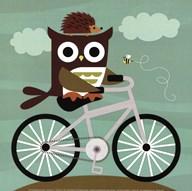 Owl and Hedgehog on Bicycle  Fine Art Print