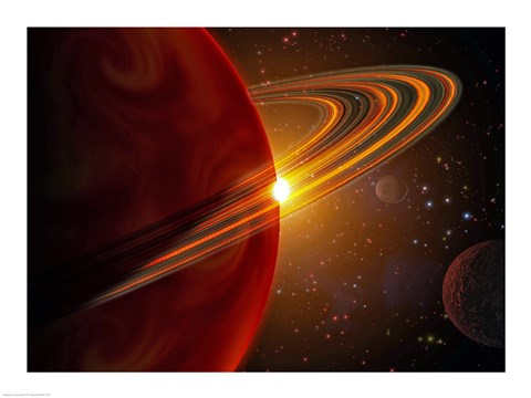 Framed Extrasolar planet orbiting the sun-like star in space Print