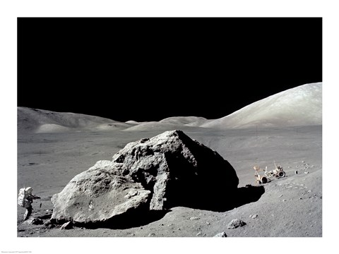 Framed Astronaut standing near a rock on the moon, Apollo 17 Print