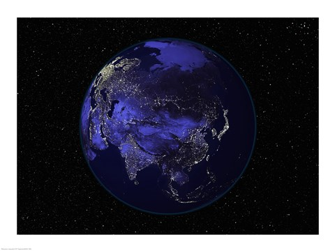 Framed Satellite view of Earth showing city lights at night Print