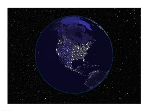 Framed Satellite view of the Earth showing city lights at night Print