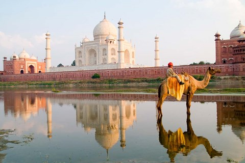 Framed Young Boy on Camel, Taj Mahal Temple Burial Site at Sunset, Agra, India Print