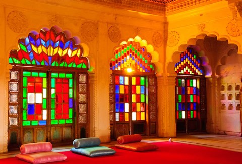 Framed Windows of colored glass, Mehrangarh Fort, Jodhpur, Rajasthan, India Print
