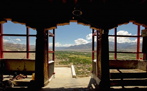 Framed View from arched doorway, Gompas And Chortens, Ladakh, India Print