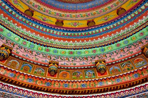 Framed Ceiling of Shree Laxmi Narihan Ji Temple, Jaipur, Rajasthan, India. Print