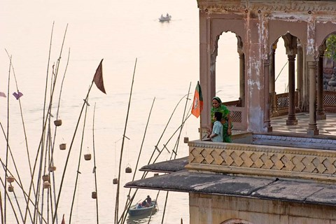 Framed Daily Life Along The Ganges River, Varanasi, India Print